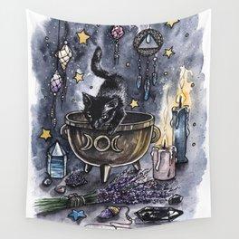 Black cat, magic illustration Wall Tapestry