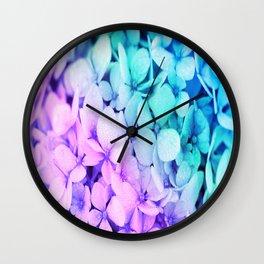 Pastel Flowers Unicorn Ombre Wall Clock