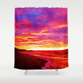 Deep Red Saturated Sunset Shower Curtain