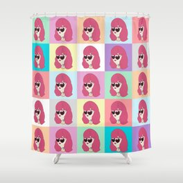 Heart-Shaped Glasses Shower Curtain