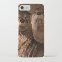 otters iPhone & iPod Cases featuring River Otters by Joshua Arlington
