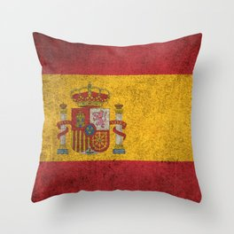 Old and Worn Distressed Vintage Flag of Spain Throw Pillow