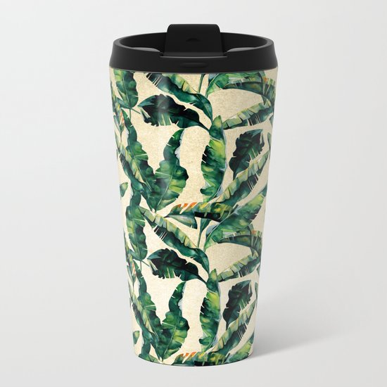 Banana Leaf Pattern Linen Metal Travel Mug