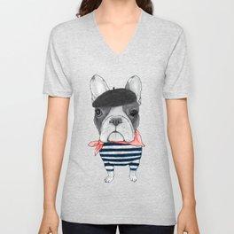 French Bulldog. Unisex V-Neck