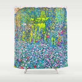 """Gustav Klimt """"Horticultural Landscape with hilltop"""" Shower Curtain"""