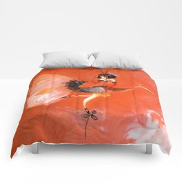 Oiseau de folie rouge Comforters
