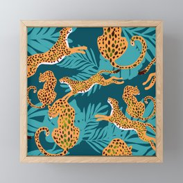 leopards in tropical forest - orange and dark blue Framed Mini Art Print