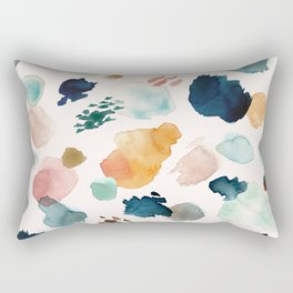 WILD WHIMS Abstract Watercolor Brush Strokes Rectangular Pillow