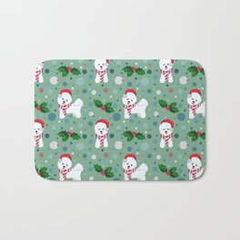Bichon Frise dog Christmas pattern Bath Mat