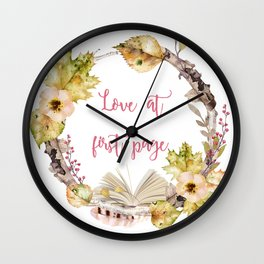 Autumn Love at first page Wall Clock