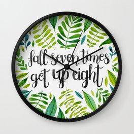 Fall Seven Get Up Eight — Green Wall Clock