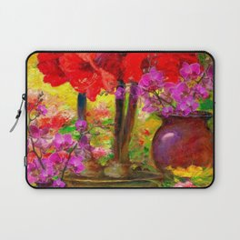 TROPICAL PINK ORCHIDS RED AMARYLLIS STILL LIFE PAINTING Laptop Sleeve