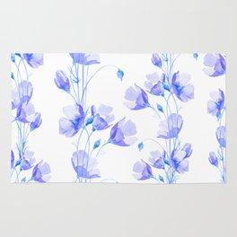 Elegant blue violet watercolor hand painted floral Rug