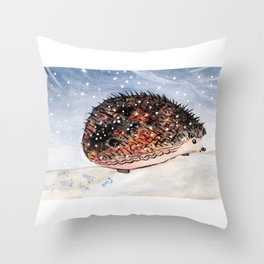 Hedgehog Facing Blizzard Throw Pillow