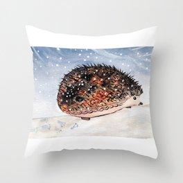 Hedgehog Facing Blizzard Throw Pillow