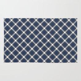 Navy Blue, White, and Black Diagonal Plaid Pattern Rug