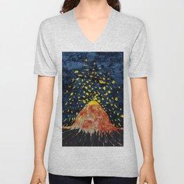 Erupting volcano Unisex V-Neck