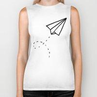 plane Biker Tanks featuring Paper Plane by Leah Flores