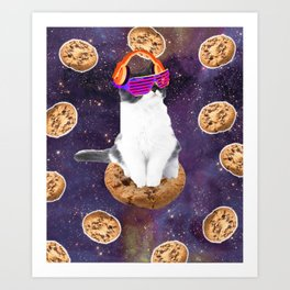 Rave Kitty Cat On Choc Cookie In Space Art Print