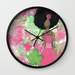 Dripping Pink and Green Angel Wall Clock
