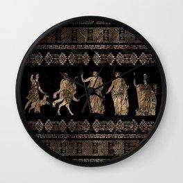 Greek Deities and Meander key ornament Wall Clock