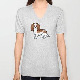 Cute Blenheim Cavalier King Charles Spaniel Dog Cartoon Illustration Unisex V-Neck