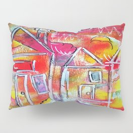 Orange Neon Houses Pillow Sham