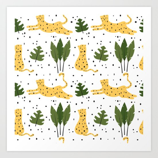 Cute Trendy Abstract Pattern Background With Leopards And Tropical Leaves Art Print By Alicevacca Society6