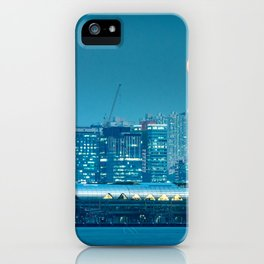 Super Moon over city skyline iPhone Case