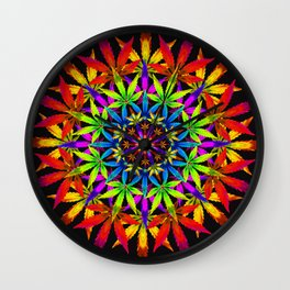 Stoners' Mandala Cannabis Leaves Wall Clock