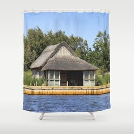 Horsey mere thatched cottage Shower Curtain