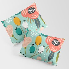 Mid-Century Modern Floral Print With Trendy Leaves Pillow Sham