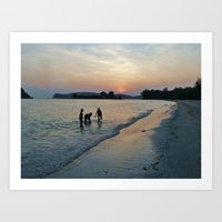 Silhouettes on the Shore Art Print