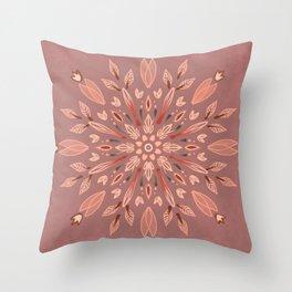 Peachy Fall Mandala Throw Pillow