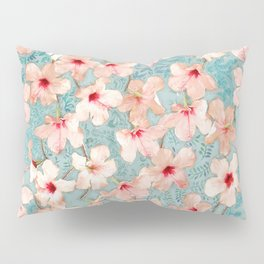 Shabby Chic Hibiscus Patchwork Pattern in Peach & Mint Pillow Sham