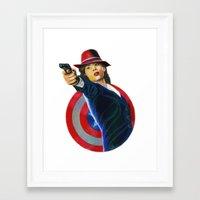peggy carter Framed Art Prints featuring Peggy Carter by Farah Jayden