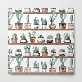 Cactus Shelf Rose Gold Green Metal Print