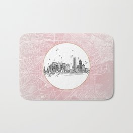 Boston, Massachusetts City Skyline Illustration Drawing Bath Mat
