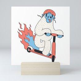 Yeti Riding Scooter Mini Art Print