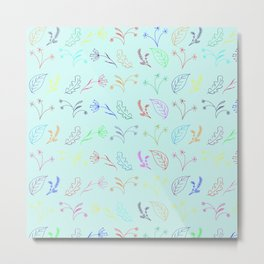 Crayon Flowers Drawing on Pastel Blue Metal Print