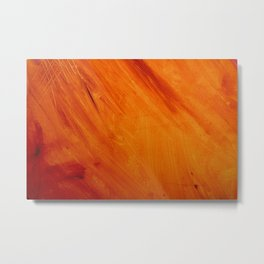 Orange and Red Acrylic Painting Metal Print