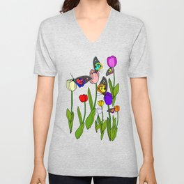 Fresh Tulips and Butterflies Unisex V-Neck