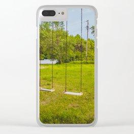 Swingset at the Church, North Dakota 1 Clear iPhone Case