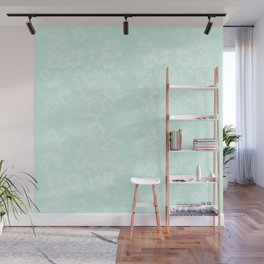 Celadon Mint Green Pastels Tropical Hibiscus Flowers Pattern Wall Mural