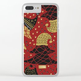 Funky Winter Pine Trees Hats Gold Black Red Background Pattern Clear iPhone Case