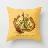 yetiland Throw Pillows featuring Steampunk Orange  (color option) by Eric Fan