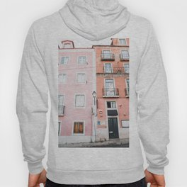 Pink and Orange Houses in Alfama in Lisbon, Portugal   Travel Photography   Hoody