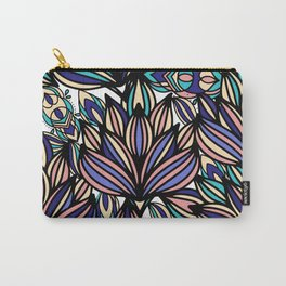 Modern hand painted black coral teal watercolor floral Carry-All Pouch