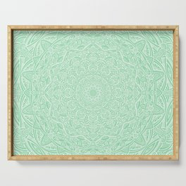 Most Detailed Mandala! Mint Green Color Intricate Detail Ethnic Mandalas Zentangle Maze Pattern Serving Tray