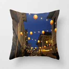 Chinatown Lanterns in L.A. Throw Pillow